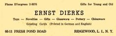 Ernst Dierks German Imports, Ridgewood, NY Ad from 1966