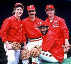 They're the Defending World Champs! (l to r): Tommy Herr, Keith Hernandez, Ozzie Smith, & Ken Oberkfell, 1983 St Louis Baseball, St Louis Cardinals Baseball, Stl Cardinals, Cardinals Players, Mlb Teams, National League, Latest Sports News, Chicago White Sox, Baseball Players