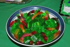 Ninja Turtle Birthday Party  Worms and Algae (gummy worms and lime finger jello)