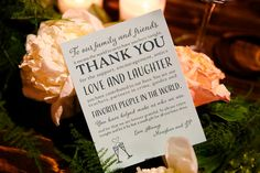 Wedding thank you note idea - thank you wording and layout with fun typography {Hyde Park Photography}