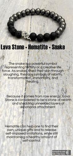 Lava Stone • Black Hematite • Snake Yoga Mala Bead Bracelet