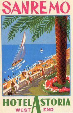Travel poster by Filippo Romoli (1901-1969), Hotel Astoria, San Remo. (I)