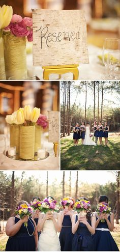 pink and yellow flowers with navy blue bridesmaid dresses, outdoor wedding