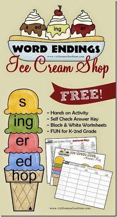FREE Ice Cream Shop Word Endings Game