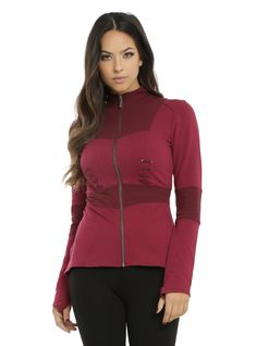 """<div>Become the Scarlet Witch in this cosplay jacket from Marvel and Her Universe! It won't provide you with chaos magic or reality warping, but the fit and flare cut will give you an amazing silhouette! The crimson cotton blend jacket is lightweight and has burgundy panels at the elbows, neckline and waist and burgundy stitiching details below the bust on each side of the front zipper closure. Two front pockets.</div><div><ul><li style=""""LIST-STYLE-POSITION: outside !important; LIST-ST..."""