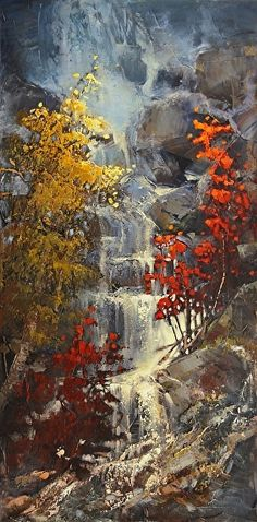 Cascading Above by Linda Wilder Acrylic ~ 40 x 20