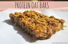 protein oat bars - fitting it all in. Easy baked oatmeal with added protein for breakfast or a snack! smother with nut buter or add to greek yogurt!  #recipe #healthy #breakfast #oats #oatmeal #snack