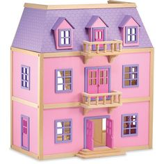 Melissa & Doug Wooden Dollhouse (150 PAB) ❤ liked on Polyvore featuring toys, fillers, pink, backgrounds and doll house