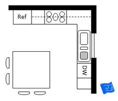 L shaped kitchen with a square island.