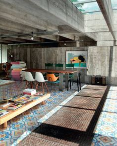 #PATTERNED #FLOOR #TILES #CONCRETE #WALLS AND #CEILING São Paulo Residence by Paulo Mendes da Rocha #interior #design