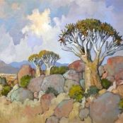 Sold | Theys, Conrad | Kokerbome Landscape Art, Landscape Paintings, South Africa Art, Meaningful Paintings, National Art Museum, South African Artists, Art Society, Pastel, Art File