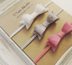 Felt Bow Headbands Tiny Bow Headbands by SuperAdorable on Etsy