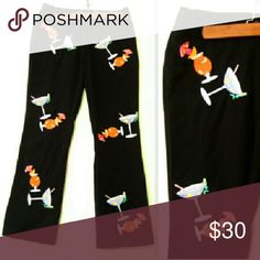 """Cocktail Hour Embroidered Martinis Graphic Capris So cute! Embroidered Capri Pants, black with bright martini glasses complete with ftuit, straws and tiny umbrellas. 100% cotyon, excellent condition. By CJ Laing.   28"""" waist  36"""" hips  36"""" length  28"""" inseam   Fast shipping! CJ Laing Pants Capris"""