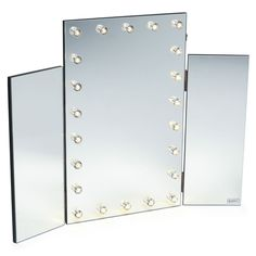 Beautify Tri Folding Vanity Table Top Mirror with LED Lights. Sturdy MDF construction incorporates beautiful mirrored panels and makes a show stopping addition to your bedroom. Placed simply on top of a level surface, the mirror will transform a humble set of drawers or simple dressing table into a theatrical centre piece that's perfect for makeup application or hairdressing. | eBay!