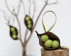 Needle felted peas in seed pod. I chose this as the photography is used very well to show the tree in the background and the seed pod in front of it.