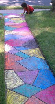 Sidewalk chalk art on the walk to the house; tape off lines and fill in!