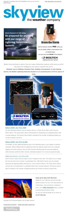 Skyview eNews May 2014 – Prepared for anything. Get a Free StrikeAlert when you buy from our Boltek range.
