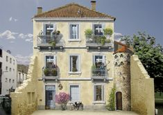 Incredibly detailed trompe l'oeil murals on blank buildings by Patrick Commecy and Co. in France