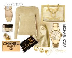 """""""GOOD LOOK...GOLD LOOK."""" by nurinur ❤ liked on Polyvore featuring Jimmy Choo, Chanel, Topshop, mel, Assouline Publishing, Michael Kors and BERRICLE"""
