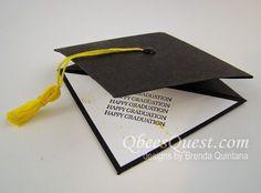 Grad Cap Gift Card Holder Tutorial (Qbee's Quest) - Graduation Graduation Cards Handmade, Graduation Diy, Greeting Cards Handmade, Graduation Quotes, Fancy Fold Cards, Folded Cards, Gift Cards Money, Shaped Cards, Grad Cap