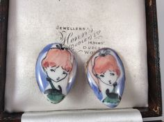 vintage jewellery Hand Painted Earrings Signed '1956' Clip On | eBay