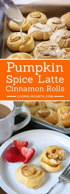 A quick and easy homemade breakfast in less than 25 minutes! Pumpkin Spice Latte Cinnamon Rolls make any morning feel special! With a hint of coffee, cream cheese and pumpkin spices, your taste buds will jump for joy. Apple Recipes, Pumpkin Recipes, Fall Recipes, Sweet Recipes, Christmas Recipes, Bread Recipes, Vegan Recipes, Cooking Recipes, Delicious Desserts