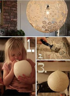 35 Bastelideen für DIY Lampe craft idea for DIY lamp from balloon Diy Lace Lamp, Doily Lamp, Lace Lampshade, Diy Luz, Diy Luminaire, Shabby Chic Wedding Decor, Diy Light Fixtures, Light Fittings, Paper Lanterns