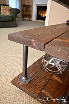 Tutorial to make a DIY industrial style media stand with wheels. Simple step directions for an upscale industrial cart style tv stand. - TV Stands - Ideas of TV Stands Industrial Tv Stand, Industrial House, Industrial Style, Industrial Design, Industrial Bedroom, Rustic Industrial, Simple Tv Stand, Diy Tv Stand, Build A Tv Stand