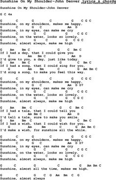 Cord Piano Love Song Lyrics for: Sunshine On My Shoulder-John Denver with chords for Ukulele, Guitar Banjo etc. Guitar Chords And Lyrics, Guitar Chords For Songs, Uke Songs, Love Songs Lyrics, Music Guitar, Easy Guitar Songs Acoustic, Music Lyrics, Ukulele Tabs, Music Music