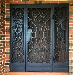 You'll never have to compromise on security when achieving a classic, regal look with our Arezzo security door style that's suitable for all. The finest in Melbourne wrought iron. Wrought Iron Security Doors, Wrought Iron Doors, Security Gates, Iron Window Grill, Iron Windows, Metal Windows, Iron Gate Design, Window Grill Design, Steel Doors