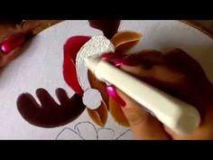 Pintura en tela cuernos y gorro de reno dos  con cony