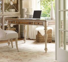 The Sanctuary writing desk in Dune and Beach finishes from Hooker Furniture.