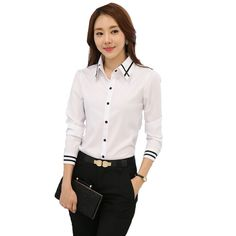 2018 New Chiffon blouses shirts Women Blue White Shirt OL Office Lady Full sleeves Work Wear Tops Plus Size Blusas Femininas Ladies Shirts Formal, Chemise Fashion, Blue And White Shirt, Formal Tops, Clothes 2018, Office Ladies, Plus Size Tops, White Long Sleeve, Blouses For Women