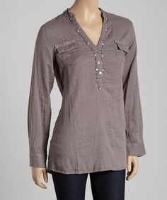 Look what I found on #zulily! Gray Embellished Notch Neck Tunic by Sacred Threads Boutique #zulilyfinds