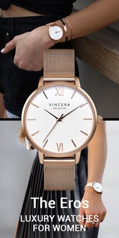 The Eros Rose Gold Mesh with White Face watch from The Vincera Collective. This designer sells pretty, modern womens watches. Find affordable luxury watches under $200 in brown leather, rose gold, silver, light pink and white minimalist and modern watch styles for women at  vinceracollective... .