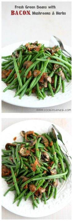 Fresh Green Beans with Bacon, Mushrooms and Herbs Recipe...Perfect side dish for Thanksgiving or any other time!   sexualhealthclinics.org