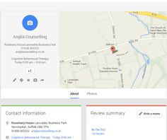 Google #places page for Anglia Counselling (Newmarket - UK)