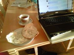 Tea with butter cheese on pita bread. typical Armenian breakfast. so amazing 1/29/12