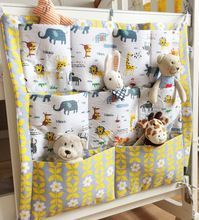 Baby Bed Hanging Storage Bag Cotton Newborn Crib Organizer Toy Diaper Pocket for Crib Bedding Set Accessories 7Patterns in Stock(China (Mainland))
