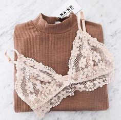 Feminine lace bralette and a light sweater for spring time transitional weather | bralette fashion trend 2016 - trending in fashion this fall