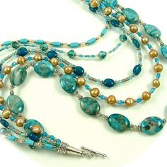 Ocean Crazy Lace Agate Pearl and Crystal by SylviaSwaseyDesigns, $148.00