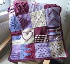 Purple Bobbles Blanket. Pattern from the book 200 Crochet Blocks by Jan Eaton.
