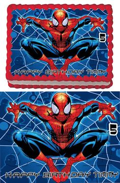 5 Spiderman Edible Cake Toppers by ItsEdible on Etsy, $8.99