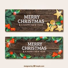 Wooden christmas banners Free Vector