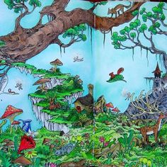 Enchanted Forest full double page from Mythomorphia using prismacolors and Marco Renoir's. #mythomorphia #kerbyrosanes #adultcoloring #forest#fairies#colouringbook
