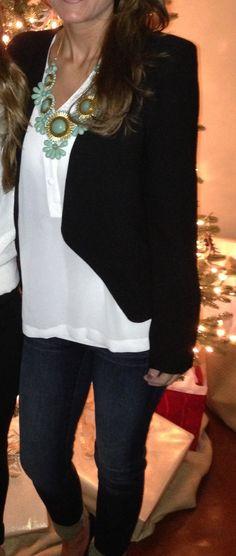 Classic blazer, jeans, statement necklace.