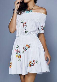 91a3f3efcb5 White Flowers Pattern Off The Shoulder Embroidery Boat Neck Sweet Cute  Cotton Mini Dress