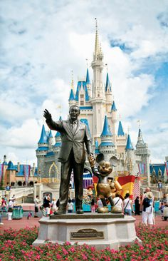 The 16-year-old statue of Mickey Mouse and Walt Disney, titled Partners, which sits at the center of the Magic Kingdom. (Stephanie Adams) From: The Indispensable Guide to Disney World.