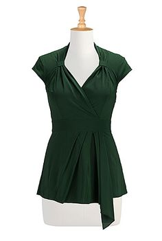I <3 this Faux wrap stretch crepe blouse from eShakti