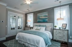 Love this blue and gray combo. Except I would want more glam in my bedroom.